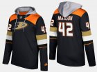Cheap Ducks #42 Josh Manson Black Name And Number Hoodie