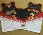 Cheap Men's Philadelphia 76ers #3 Allen Iverson White With Black Independence Day 1997-98 Hardwood Classics Soul AU Throwback Jersey