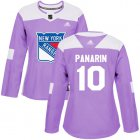 Cheap Adidas Rangers #10 Artemi Panarin Purple Authentic Fights Cancer Women's Stitched NHL Jersey