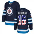 Cheap Adidas Jets #16 Laurie Boschman Navy Blue Home Authentic USA Flag Stitched NHL Jersey