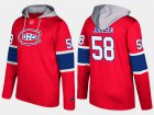 Cheap Canadiens #58 Noah Juulsen Red Name And Number Hoodie