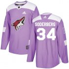 Cheap Adidas Coyotes #34 Carl Soderberg Purple Authentic Fights Cancer Stitched NHL Jersey