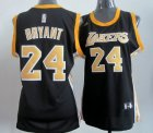 Cheap Los Angeles Lakers #24 Kobe Bryant Black With Gold Womens Jersey