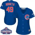 Cheap Cubs #49 Jake Arrieta Blue Alternate 2016 World Series Champions Women's Stitched MLB Jersey