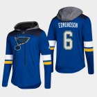 Cheap Blues #6 Joel Edmundson Blue 2018 Pullover Platinum Hoodie