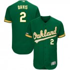 Cheap Men's Oakland Athletics #2 Khris Davis Majestic Kelly Green Alternate Flex Base Authentic Collection Player Jersey