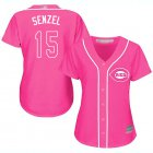 Cheap Reds #15 Nick Senzel Pink Fashion Women's Stitched MLB Jersey