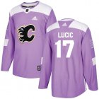 Cheap Adidas Flames #17 Milan Lucic Purple Authentic Fights Cancer Stitched NHL Jersey