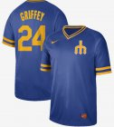 Cheap Nike Mariners #24 Ken Griffey Royal Authentic Cooperstown Collection Stitched MLB Jersey