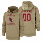 Cheap Arizona Cardinals Custom Nike Tan 2019 Salute To Service Name & Number Sideline Therma Pullover Hoodie