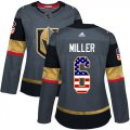 Cheap Adidas Golden Knights #6 Colin Miller Grey Home Authentic USA Flag Women's Stitched NHL Jersey