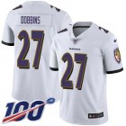 Cheap Nike Ravens #27 J.K. Dobbins White Youth Stitched NFL 100th Season Vapor Untouchable Limited Jersey