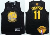 Cheap Men's Golden State Warriors #11 Klay Thompson Black With Gold 2016 The NBA Finals Patch Jersey