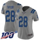 Cheap Nike Colts #28 Jonathan Taylor Gray Women's Stitched NFL Limited Inverted Legend 100th Season Jersey