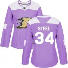 Cheap Adidas Ducks #34 Sam Steel Purple Authentic Fights Cancer Women's Stitched NHL Jersey