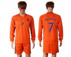 Cheap Holland #7 Memphis Home Long Sleeves Soccer Country Jersey