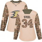 Cheap Adidas Ducks #34 Sam Steel Camo Authentic 2017 Veterans Day Women's Stitched NHL Jersey