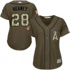Cheap Angels #28 Andrew Heaney Green Salute to Service Women's Stitched MLB Jersey