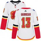 Cheap Adidas Flames #13 Johnny Gaudreau White Road Authentic Women's Stitched NHL Jersey