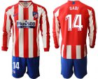 Cheap Atletico Madrid #14 Gabi Home Long Sleeves Soccer Club Jersey
