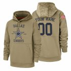 Cheap Dallas Cowboys Custom Nike Tan 2019 Salute To Service Name & Number Sideline Therma Pullover Hoodie