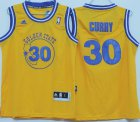 Cheap Golden State Warriors #30 Stephen Curry ABA Hardwood Classic Swingman Yellow Kids Jersey
