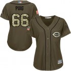 Cheap Reds #66 Yasiel Puig Green Salute to Service Women's Stitched MLB Jersey
