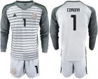Cheap Mexico #1 Corona Grey Long Sleeves Goalkeeper Soccer Country Jersey