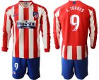 Cheap Atletico Madrid #9 F.Torres Home Long Sleeves Soccer Club Jersey
