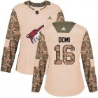 Cheap Adidas Coyotes #16 Max Domi Camo Authentic 2017 Veterans Day Women's Stitched NHL Jersey