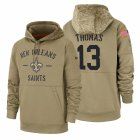 Cheap New Orleans Saints #13 Michael Thomas Nike Tan 2019 Salute To Service Name & Number Sideline Therma Pullover Hoodie