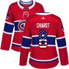 Cheap Adidas Canadiens #8 Ben Chiarot Red Home Authentic USA Flag Women's Stitched NHL Jersey