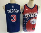 Cheap Men's Philadelphia 76ers #3 Allen Iverson Red with Blue Salute Nike Swingman Stitched NBA Jersey
