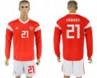 Cheap Russia #21 Erokhin Red Home Long Sleeves Soccer Country Jersey