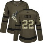 Cheap Adidas Canucks #22 Daniel Sedin Green Salute to Service Women's Stitched NHL Jersey