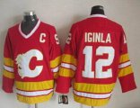 Cheap Flames #12 Jarome Iginla Red CCM Throwback Stitched NHL Jersey