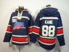 Cheap Olympic Team USA #88 Patrick Kane Navy Blue Throwback Sawyer Hooded Sweatshirt Stitched NHL Jersey