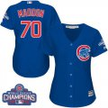 Cheap Cubs #70 Joe Maddon Blue Alternate 2016 World Series Champions Women's Stitched MLB Jersey