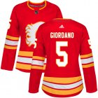 Cheap Adidas Flames #5 Mark Giordano Red Alternate Authentic Women's Stitched NHL Jersey