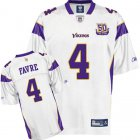 Cheap Vikings #4 Brett Favre White Team 50TH Patch Stitched NFL Jersey