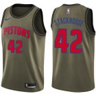 Cheap Nike Pistons #42 Jerry Stackhouse Green Salute to Service NBA Swingman Jersey