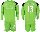 Cheap Liverpool #13 Alisson Green Goalkeeper Long Sleeves Soccer Club Jersey