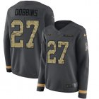 Cheap Nike Ravens #27 J.K. Dobbins Anthracite Salute to Service Women's Stitched NFL Limited Therma Long Sleeve Jersey