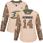 Cheap Adidas Ducks #14 Adam Henrique Camo Authentic 2017 Veterans Day Women's Stitched NHL Jersey