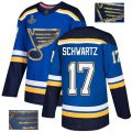 Cheap Adidas Blues #17 Jaden Schwartz Blue Home Authentic Fashion Gold Stanley Cup Champions Stitched NHL Jersey