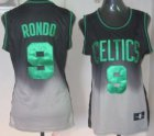 Cheap Boston Celtics #9 Rajon Rondo Black/Gray Fadeaway Fashion Womens Jersey