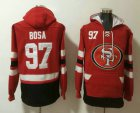 Cheap Men's San Francisco 49ers #97 Nick Bosa NEW Red Pocket Stitched NFL Pullover Hoodie