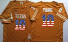 Cheap Men's Texas Longhorns 10 Vince Young Orange USA Flag College Jersey