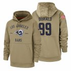 Cheap Los Angeles Rams #99 Aaron Donald Nike Tan 2019 Salute To Service Name & Number Sideline Therma Pullover Hoodie
