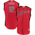 Cheap American League #12 Francisco Lindor Majestic 2019 MLB All-Star Game Workout Player Jersey Red